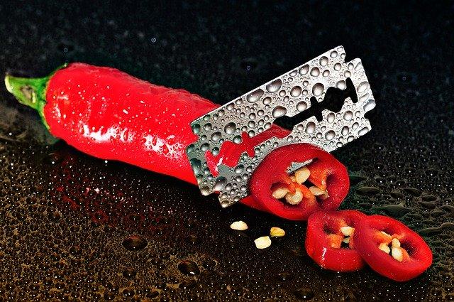 čili paprička v řezu