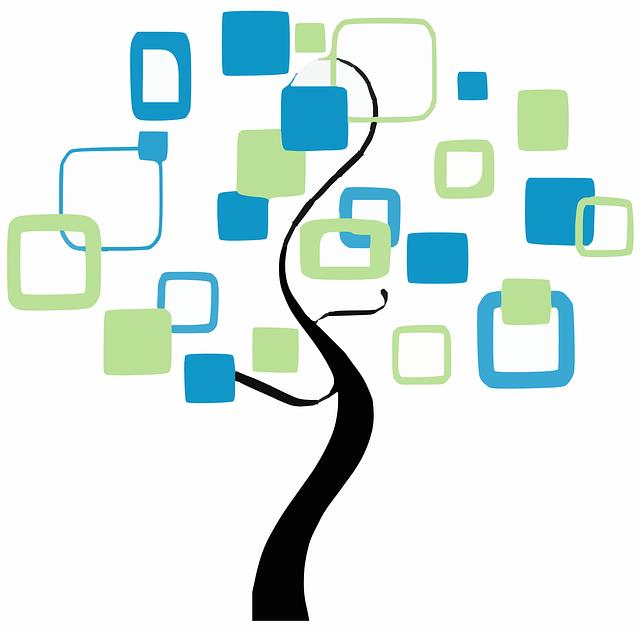 strom života, modré a zelené čtverce