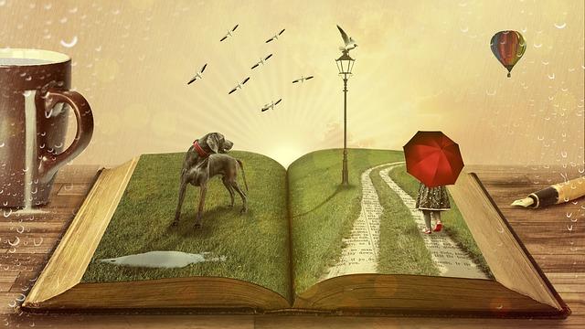 kniha, pes, deštník, balon