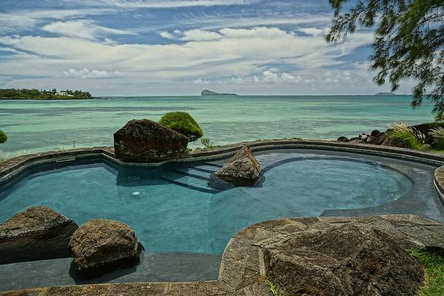 bazén, kameny, moře