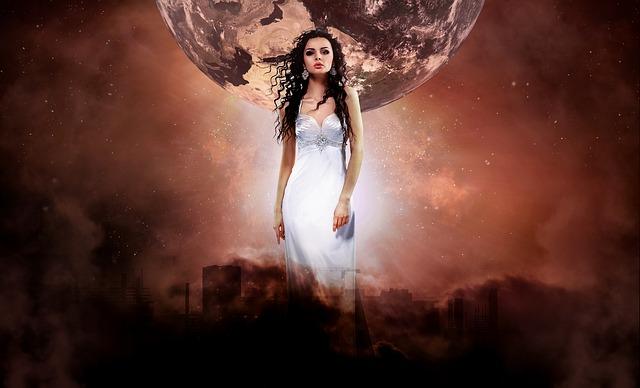 žena, planeta, červené pozadí