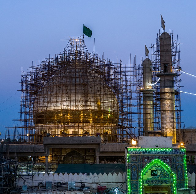 lešení, mešita. stavba