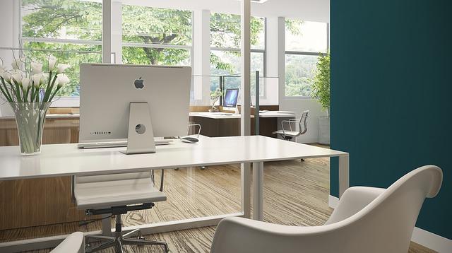 kancelář, apple monitor, bílá židle