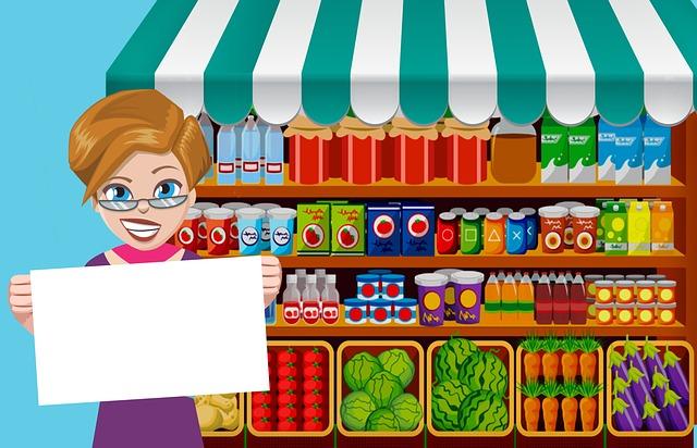 ilustrace – žena v obchodě s potravinami