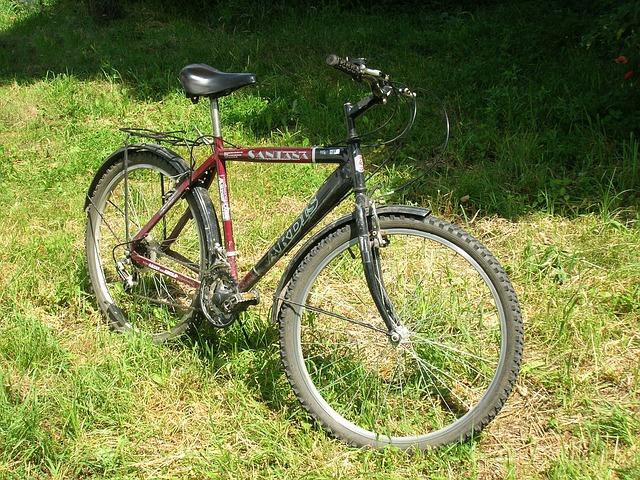 horské kolo na trávníku