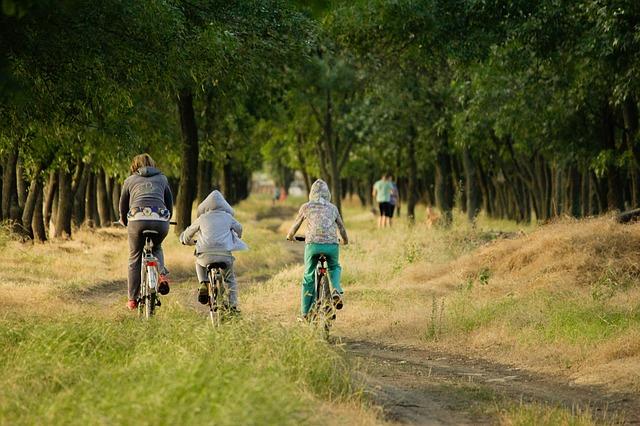 Rodina jedoucí na kolech lesem