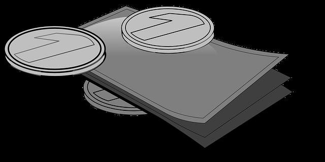 ilustrace – šedé bankovky a mince