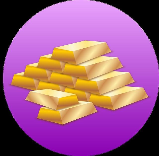 hromada zlatých cihel ve fialovém kruhu
